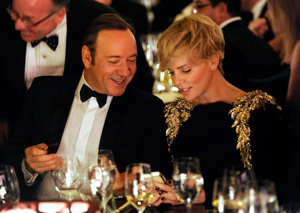 Actors Kevin Spacey, left, and Charlize Theron attend the Wallis Annenberg Center for the Performing Arts Inaugural Gala on Thursday, Oct. 17, 2013, in Beverly Hills, Calif. (Photo by Chris Pizzello/Invision/AP)