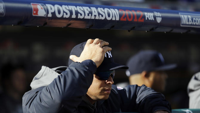 New York Yankees' Alex Rodriguez watches Game 4 of the American League championship series against the Detroit Tigers Thursday, Oct. 18, 2012, in Detroit. (AP Photo/Paul Sancya )