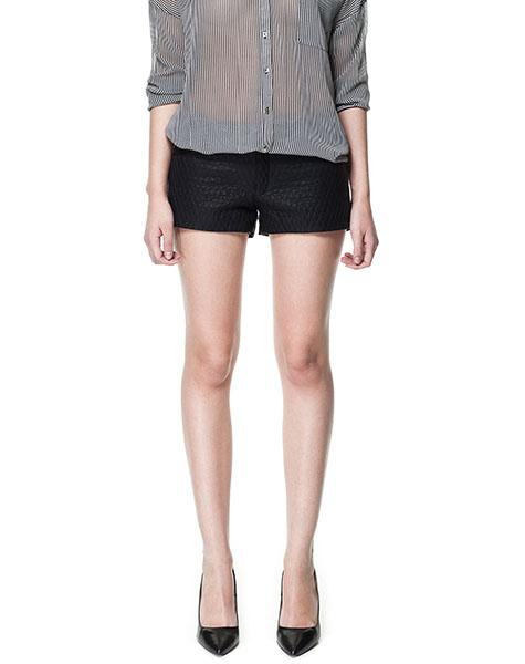 Leather Effect Shorts with Quilted Front, $39.90 at zara.com