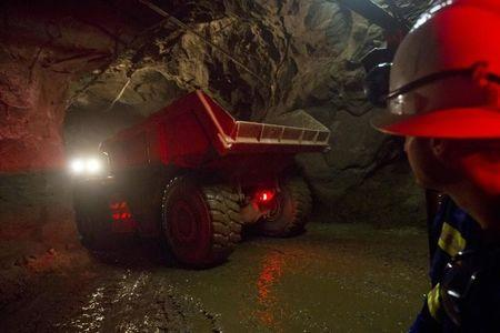 A truck travels underground to collect ore at the Chibuluma copper mine