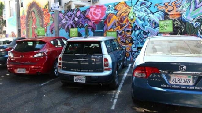 Zipcars in San Francisco: The car sharing service is especially popular in urban areas.