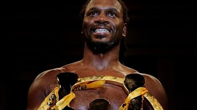 Audley Harrison poses with the Prizefighter International Heavyweights III trophy after winning at York Hall (Scott Heavey)