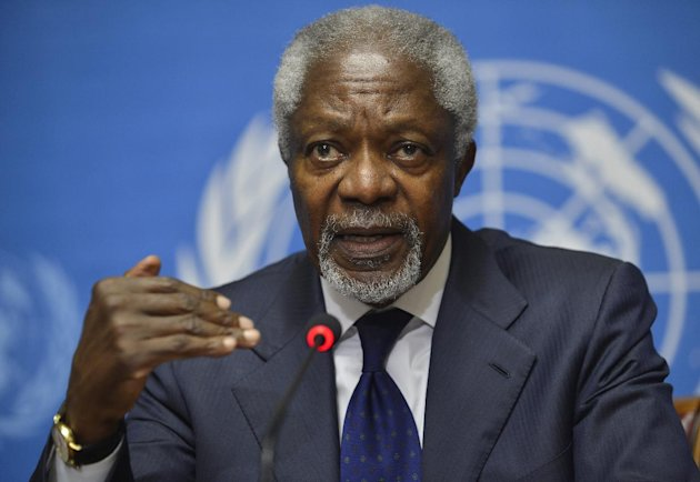 FILE - In this Saturday, June 30, 2012 file photo, Kofi Annan, Joint Special Envoy of the United Nations and the Arab League for Syria speaks during a news conference following the Action Group on Syria meeting in the Palace of Nations, at the United Nations' Headquarters in Geneva, Switzerland. Special U.N. envoy Kofi Annan acknowledged in an interview published Saturday, July 7, 2012 that the international community's efforts to find a political solution to the escalating violence in Syria have failed. Annan also said that more attention needed to be paid to the role of longtime Syrian ally Iran, and that countries supporting military actors in the conflict were making the situation worse. (AP Photo/Martial Trezzini, Keystone, File)