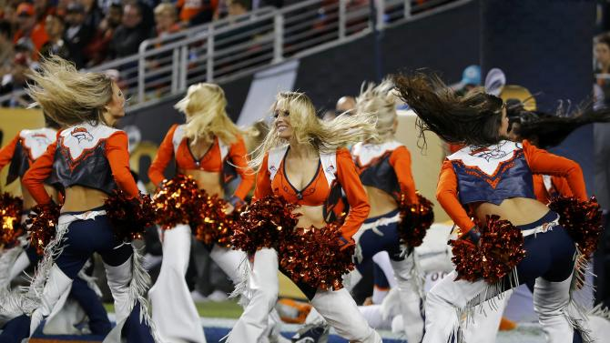 The Denver Broncos cheerleaders perform during the NFL's Super Bowl 50 football game against the Carolina Panthers in Santa Clara