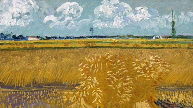 """This photo provided by the Denver Art Museum shows Vincent van Gogh's """"Wheatfield with Sheaves."""" The story of how one of the most popular postimpressionist painters developed his signature style is told in an exhibit that the Denver Art Museum assembled using more than 70 van Gogh works from dozens of museums and collections around the world. The exhibit also includes artists who influenced him and from fellow postimpressionists. (AP Photo/Denver Art Museum)"""