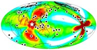 A map of the earthquakes triggered around the globe (shown as black dots) within a week of the April 11, 2012 earthquake off the coast of Sumatra (shown as a white star).