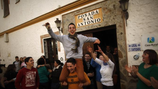 "Winners of Spain's Christmas Lottery ""El Gordo"" celebrate in El Gastor"