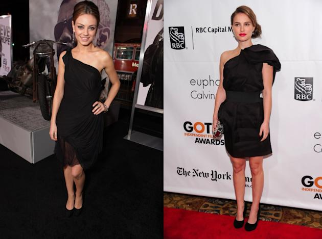 Mila and Natalie in black one shoulder dresses