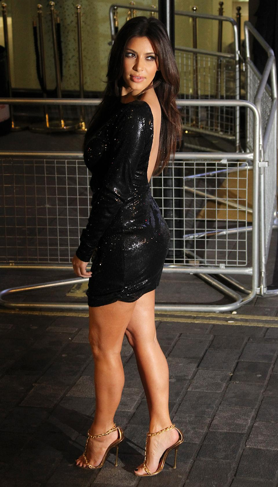 Kim Kardashian arrives for their Kardashian Kollection UK Launch at Acqua Club in central London, Thursday, Nov. 8, 2012. (Photo by Joel Ryan/Invision/AP)