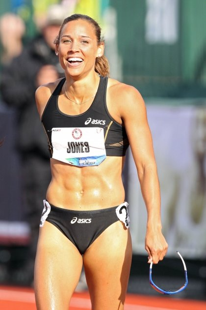 Lolo Jones reacts after qualifying for 2012 Olympics after coming in third in the women's 100 meter hurdles final during Day Two of the 2012 U.S. Olympic Track & Field Team Trials at Hayward Field in