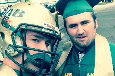UAB linebacker wore his helmet to graduation in protest