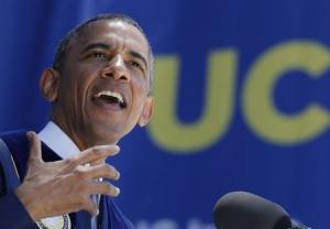U.S. President Obama speaks during the commencement ceremony for the University of California, Irvine in Anaheim