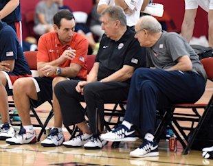 Jerry Colangelo (center) presided over Mike Krzyzewski's appointment as Team USA coach. (Getty Images)