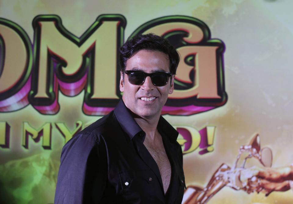 "Bollywood actor Akshay Kumar poses at a press conference to promote his upcoming movie "" OMG  Oh My God""  in Ahmadabad, India, Monday, Sept. 24, 2012. The film will be released on Sept. 28. (AP Photo/Ajit Solanki)"