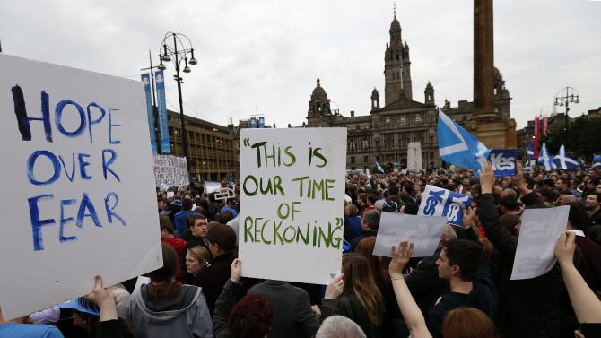 Yes supporters congregate at George Square in Glasgow