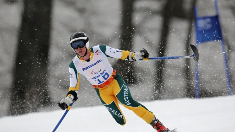 Australia's Toby Kane skis during the men's standing skiing Super G at the 2014 Sochi Paralympic Winter Games at the Rosa Khutor Alpine Center