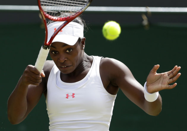 Sloane Stephens of the United States returns a shot to Sabine Lisicki of Germany during a third round women's singles match at the All England Lawn Tennis Championships at Wimbledon, England, Friday, June 29, 2012. (AP Photo/Kirsty Wigglesworth)
