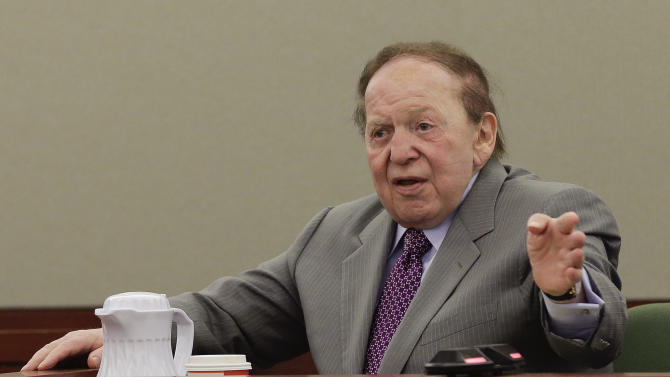 Las Vegas Sands Corp. CEO Sheldon Adelson testifies for a third day in Clark County district court, Monday, April 8, 2013, in Las Vegas. Under cross-examination by his attorneys, the 79-year-old multibillionaire was explaining on Monday why he thinks a Hong Kong businessman is not entitled to a payment of $328 million. Businessman Richard Suen says he's owed that money for helping Adelson's company, Las Vegas Sands, gain a foothold in the Chinese gambling enclave of Macau.(AP Photo/Julie Jacobson)
