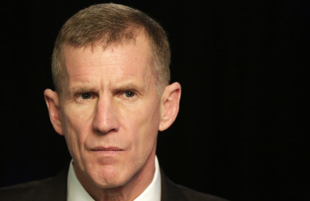 "Retired Gen. Stanley McChrystal reacts during an interview with The Associated Press, Monday, Jan. 7, 2013 in New York. McChrystal says he was ""completely surprised"" by the uproar that followed publication of a Rolling Stone article featuring derogatory comments attributed to his staff about the Obama administration. He is now promoting his new book entitled ""My Share of the Task."" (AP Photo/Mark Lennihan)"