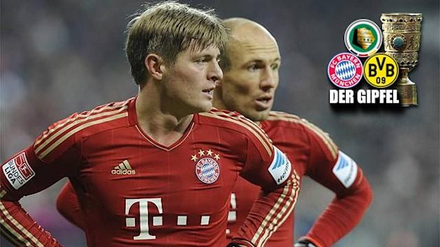 Toni Kroos (v.) und Arjen Robben (Bayern Mnchen) fiebern dem Spiel gegen Dortmund entgegen