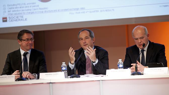 French bank Societe Generale CEO Frederic Oudea, Deputy Chief Executive Officer Severin Cabannes and Bernardo Sanchez Incera attend a news conference to present the company's 2015 annual results La Defense near Paris
