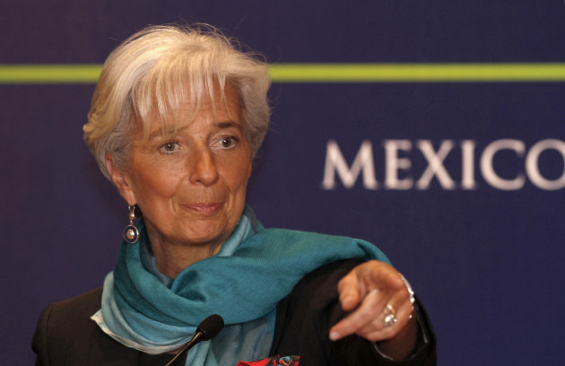 **  CORRECTS LAST NAME OF CHRISTINE LAGARDE  ** Managing Director of the International Monetary Fund Christine Lagarde delivers a speech during a conference at a so-called Group of 20 meeting in Mexic