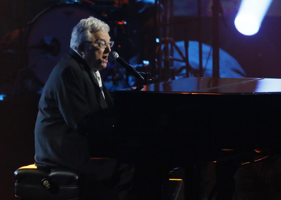 Randy Newman performs while being inducted into the Rock and Roll Hall of Fame during the Rock and Roll Hall of Fame Induction Ceremony at the Nokia Theatre on Thursday, April 18, 2013 in Los Angeles. (Photo by Danny Moloshok/Invision/AP)