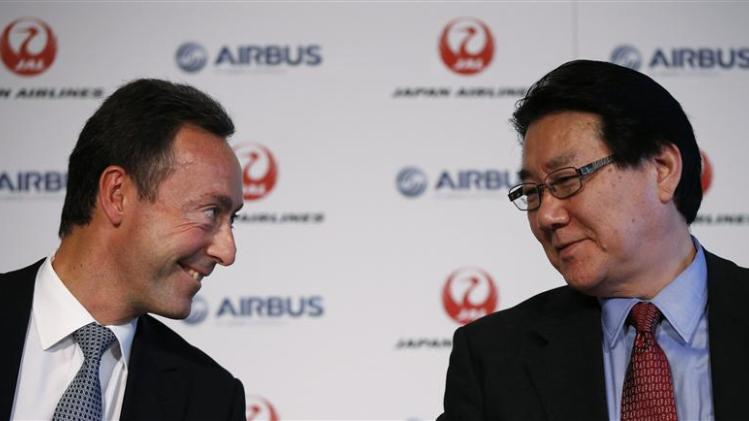Airbus Chief Executive Bregier attends a joint news conference with Japan Airlines President Ueki in Tokyo