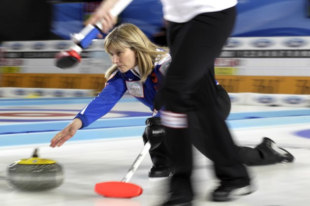 U.S. skip Brown delivers a stone during their World Women's Curling Championship qualification round against Japan in Riga