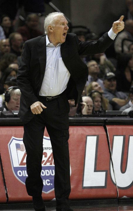 San Antonio Spurs head coach Popovich reacts to a call during their NBA game against the Oklahoma Thunder in San Antonio, Texas