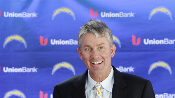 New San Diego Chargers head coach Mike McCoy laughs as he holds a team helmet during an NFL football news conference, Tuesday, Jan. 15, 2013, in San Diego. The former offensive coordinator for the Denver Broncos replaces Norv Turner, who was fired along with general manager A.J. Smith after the Chargers finished 7-9 and missed the playoffs for the third straight season. (AP Photo/Gregory Bull)