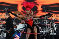 Jamaican singer, actress and model Grace Jones performs during the Queen's Diamond Jubilee Concert. The star-studded musical extravaganza comes on the third of four days of celebrations to celebrate Queen Elizabeth II's 60 years on the throne