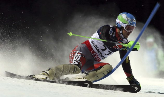 United States' Ted Ligety competes in the slalom portion of the men's super-combined, at the Alpine skiing world championships in Schladming, Austria, Monday, Feb.11, 2013. (AP Photo/Alessandro Trovat