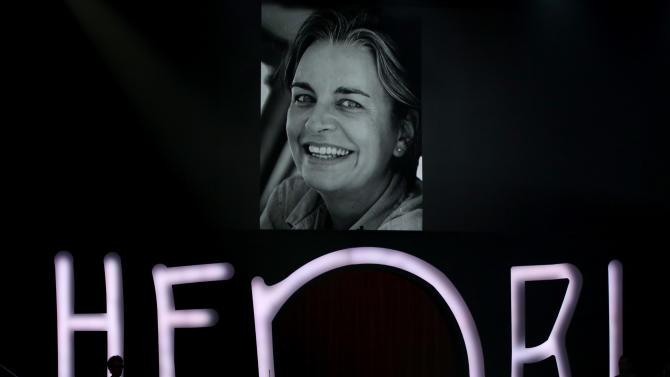 A portrait of German photojournalist Anja Niedringhaus, who was killed in Afghanistan in April 2014, is pictured on May 16, 2014 in Hamburg during the presentation of the Henri Nannen Prize award ceremony