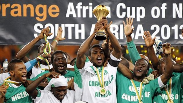 Nigeria's players celebrate winning the African Nations Cup (AFCON 2013) final soccer match against Burkina Faso in Johannesburg