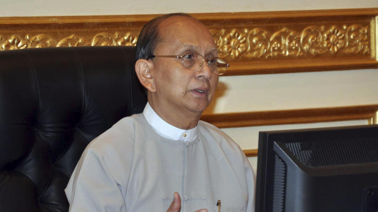 Myanmar President Thein Sein speaks during special meeting for Cyclonic Storm Mahasen, at Presidential House in Naypyitaw, Myanmar, Tuesday, May 14, 2013. Sein will visit the White House next week, the first such trip by a Myanmar head of state in almost 47 years and a sign of warming ties. (AP Photo)