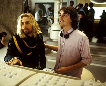 Sam Rockwell and director Garth Jennings on the set of Touchstone Pictures' The Hitchhiker's Guide to the Galaxy