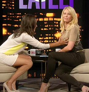 "Zoe Saldana Feels Up Chelsea Handler's ""Amazing Rack"""
