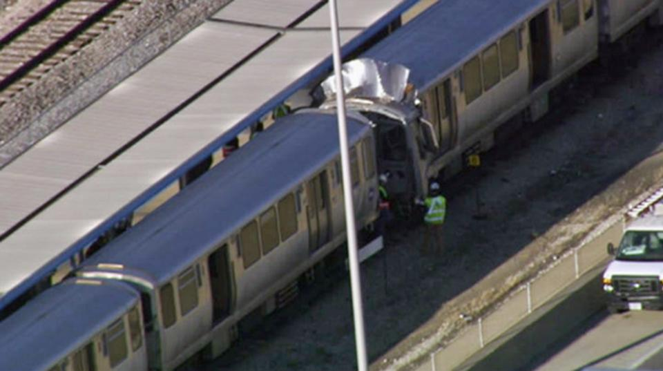 This image from video provided by NBC Chicago shows emergency personnel at the scene of a crash involving two Chicago Transit Authority trains on the Blue Line during rush hour Monday, Sept. 30, 2013, in Forest Park, Ill. Several ambulances have been sent to the scene. (AP Photo/Courtesy of NBC Chicago)
