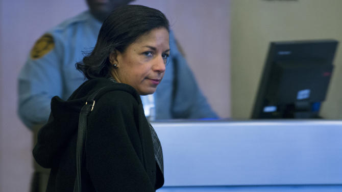 U.S. Ambassador to the United Nations Susan Rice arrives at arrives at U.N. headquarters for an emergency Security Council meeting on North Korea's nuclear test Tuesday, Feb. 12, 2013. Defying U.N. warnings, North Korea on Tuesday conducted its third nuclear test in the remote, snowy northeast, taking a crucial step toward its goal of building a bomb small enough to be fitted on a missile capable of striking the United States. (AP Photo/Craig Ruttle)