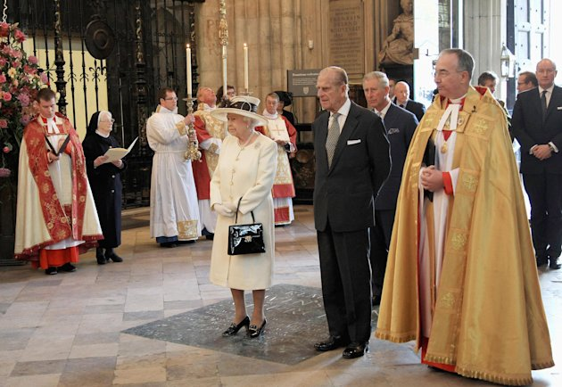 Britain&#39;s Queen Elizabeth II, Prince Philip, the Duke of Edinburgh and Prince Charles attend a service marking the 400th anniversary of the King James Bible at Westminster Abbey, London, Wednesday, Nov. 16, 2011. The first edition of the King James Bible was published in 1611 (AP Photo/Chris Jackson, Pool)