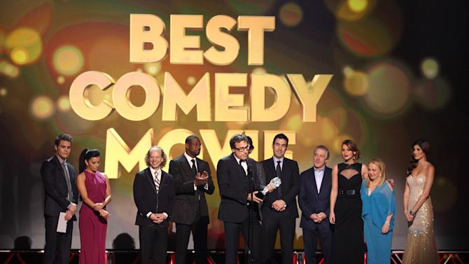 """David O. Russell accepts the award for best comedy movie for """"Silver Linings Playbook"""" at the 18th Annual Critics' Choice Movie Awards at the Barker Hangar on Thursday, Jan. 10, 2013, in Santa Monica, Calif.  (Photo by Matt Sayles/Invision/AP)"""