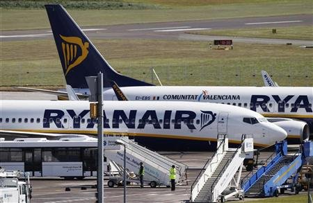 Ryanair aircraft are pictured at Edinburgh Airport in Scotland