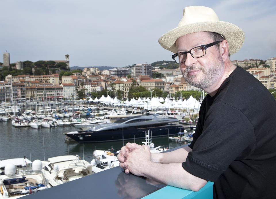 Director Lars Von Trier poses for portraits after an interview with the Associated Press promoting the film Melancholia at the 64th international film festival, in Cannes, southern France, Wednesday, May 18, 2011. (AP Photo/Joel Ryan)
