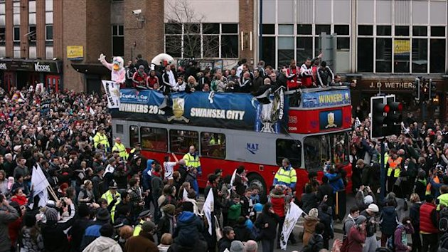 Swansea are celebrating their Capital One Cup win with an open top bus parade