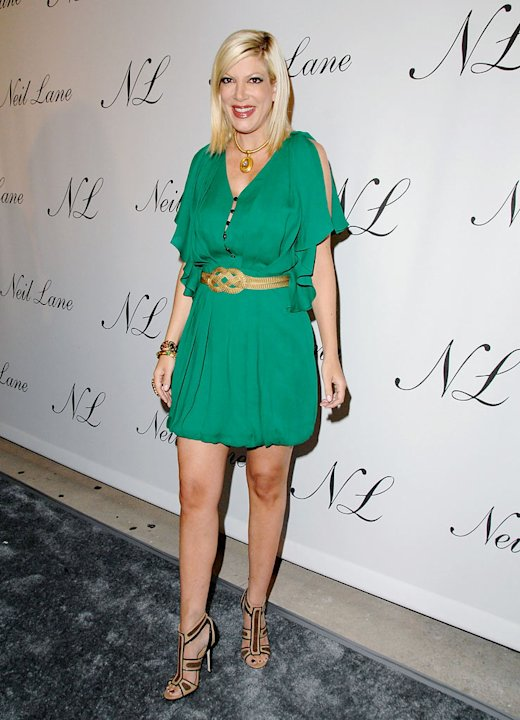 Tori Spelling arrives at the Neil Lane Flagship Store Private Opening at the Neil Lane Store on October 29, 2008 in Los Angeles, California.