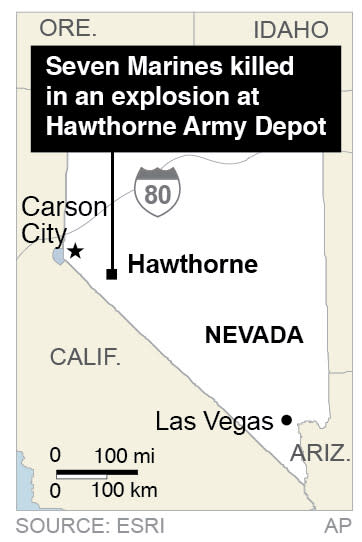 Map locates Hawthorne Army Depot in Nevada, where 7 Marines are killed in an explosion.