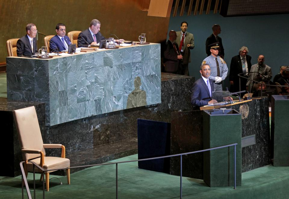 President Barack Obama addresses the United Nations General Assembly at the UN Building, Wednesday, Sept. 21, 2011. (AP Photo/Pablo Martinez Monsivais)