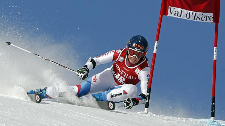 Switzerland's Gisin skis during the Women's World Cup Giant Slalom skiing race in Val d'Isere