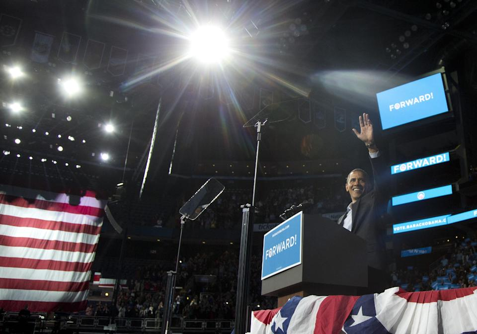 President Barack Obama waves as he speaks to supporters at a campaign event at Nationwide Arena, Monday, Nov. 5, 2012, in Columbus, Ohio.  (AP Photo/Carolyn Kaster)